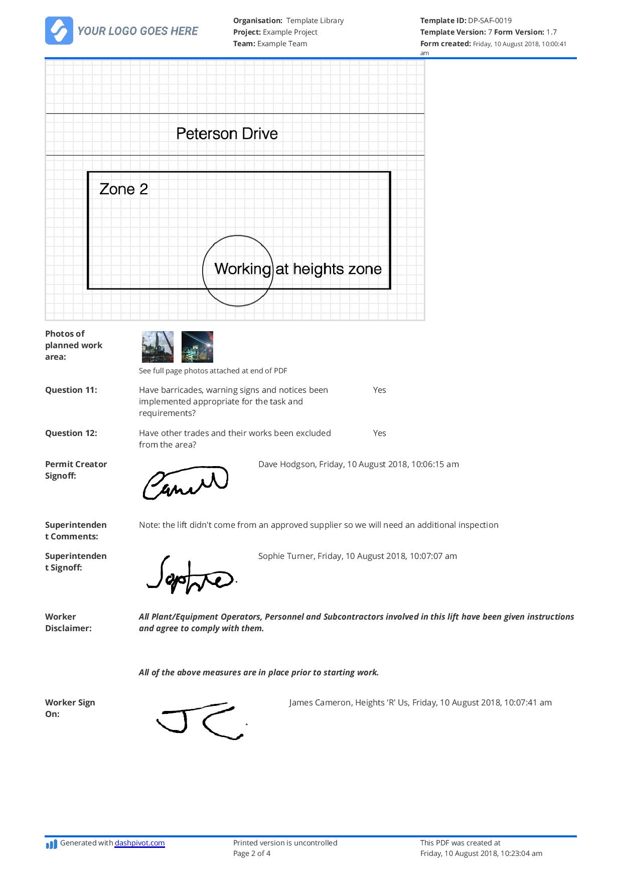 Free Working at Heights Permit template (Better than PDF and word)