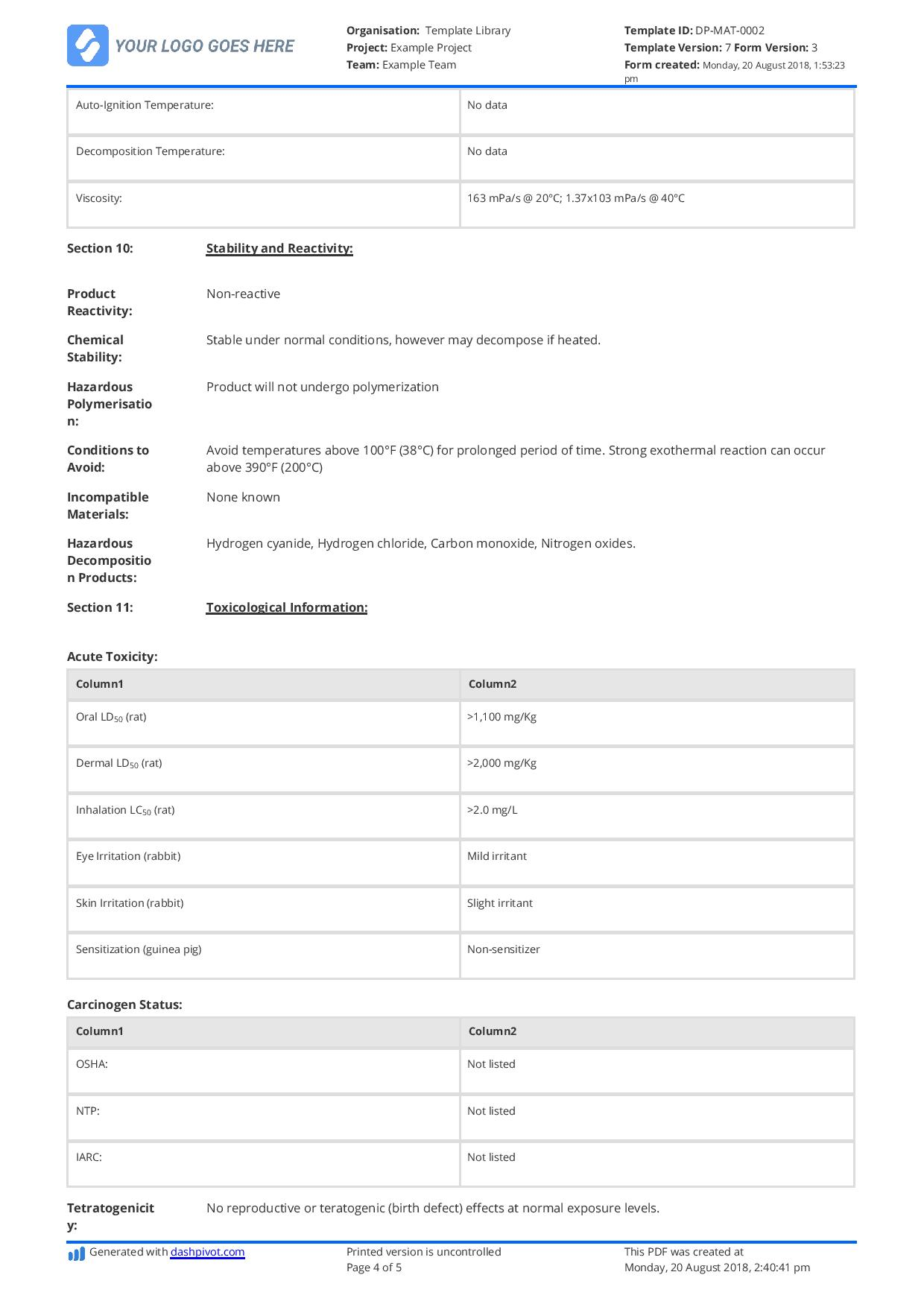 free material safety data sheet template better than word excel pdf