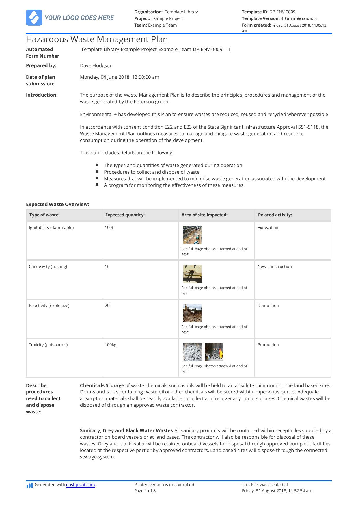 Hazardous Waste Management Plan Template Free And Editable