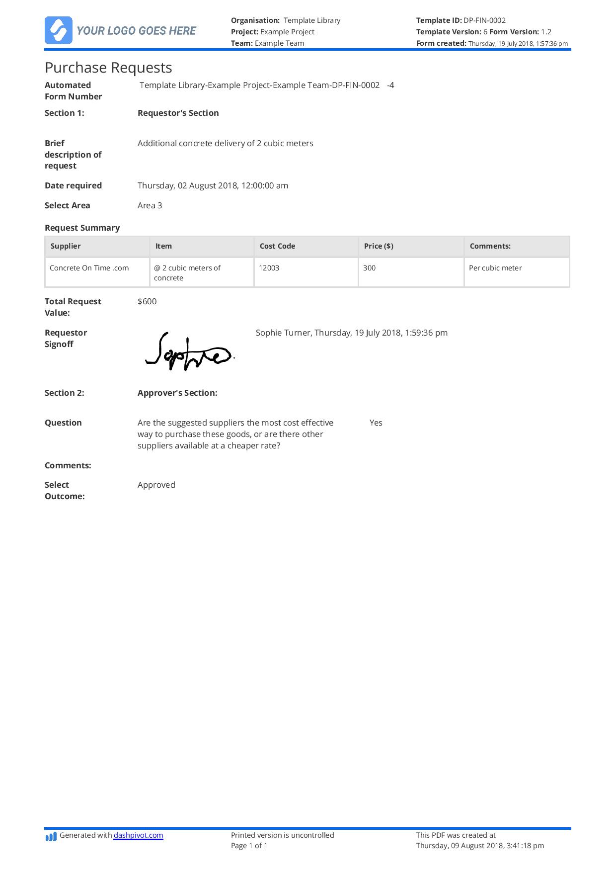 Purchase Request Form template: Use this purchase request template free