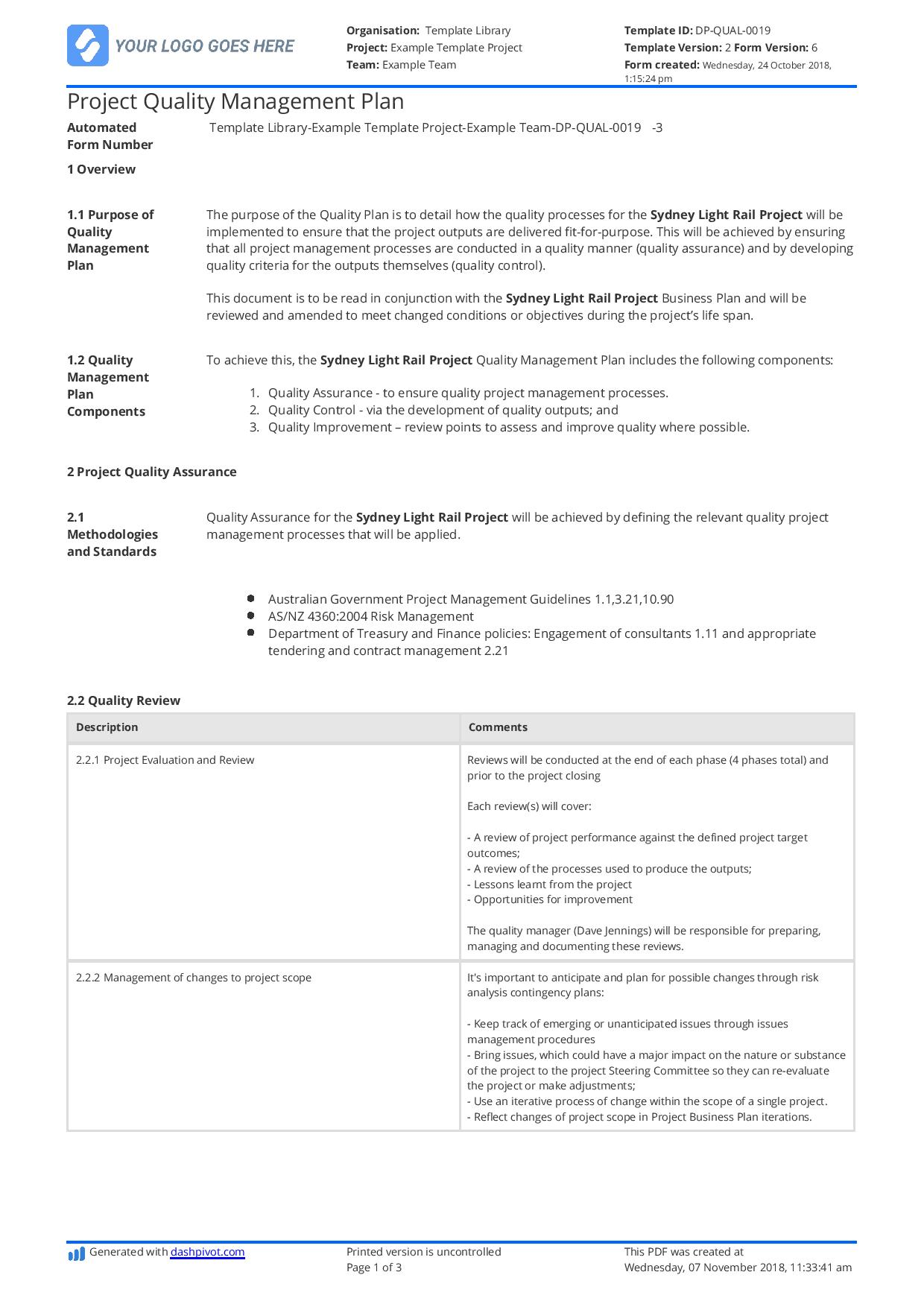 Construction Quality Management Plan Free And Customisable Template