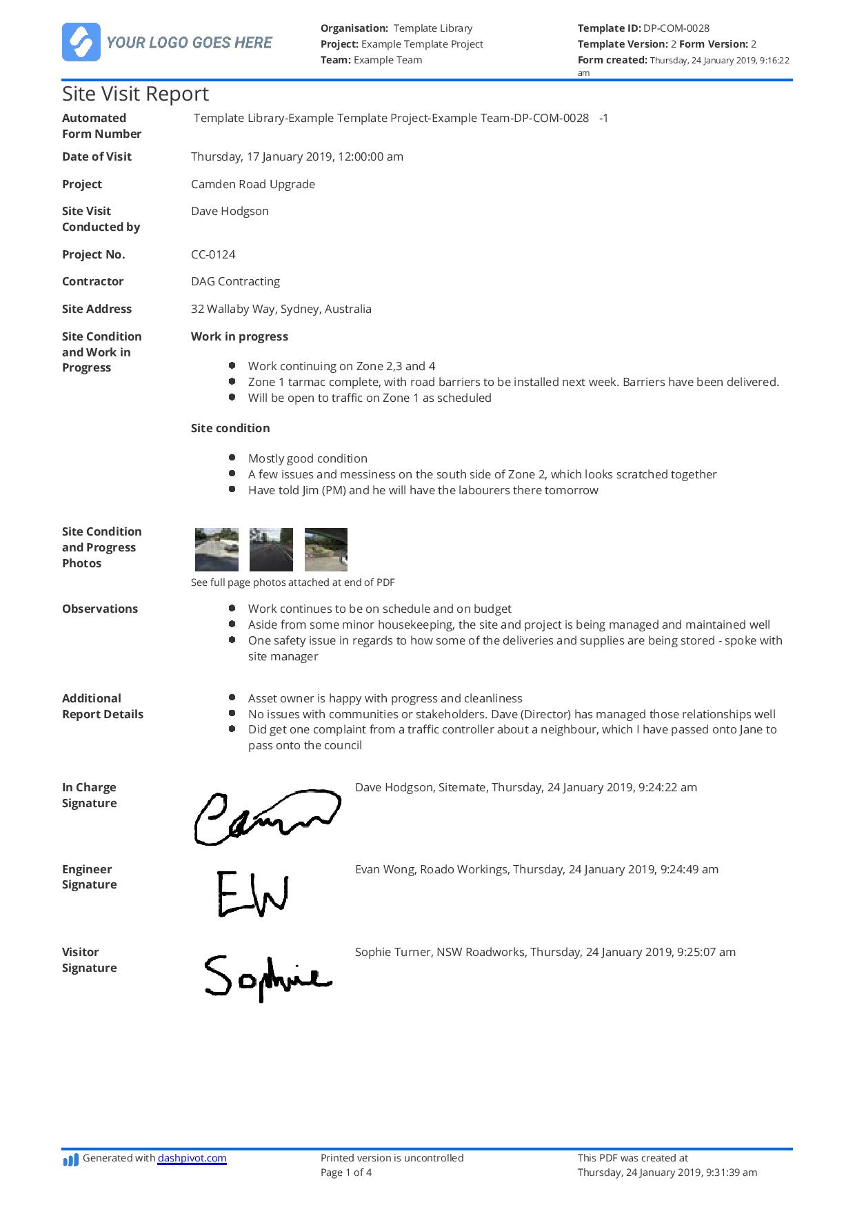 Construction Site Visit Report Template And Sample Free To Use