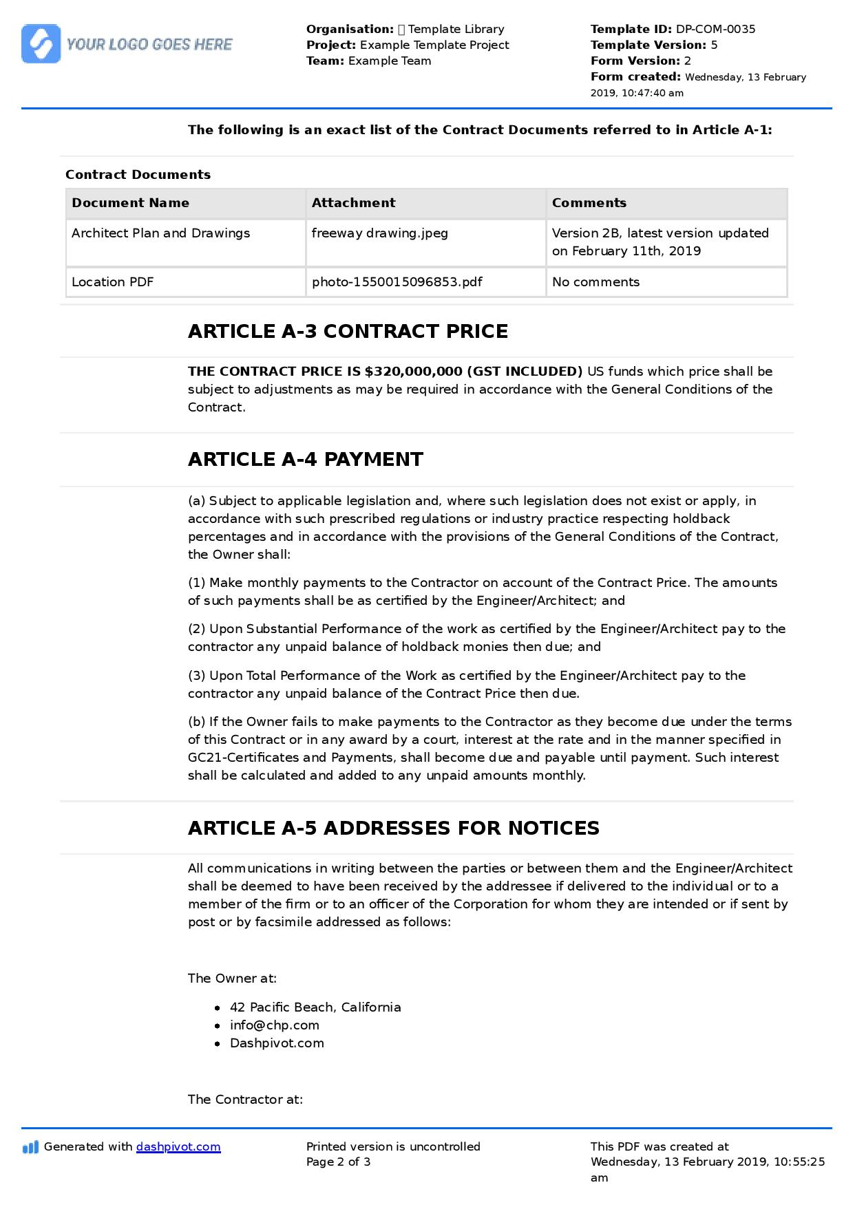 Contract Agreement For Construction Work Sample Template