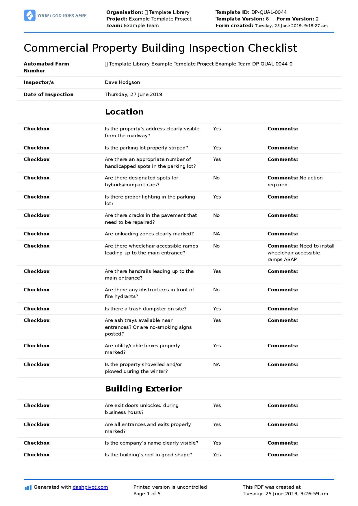 Commercial Property Inspection Checklist template (Use it free here) With Property Condition Assessment Report Template