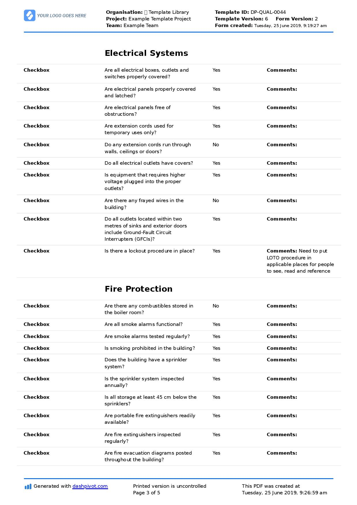 Commercial Property Inspection Checklist template (Use it free here) For Property Condition Assessment Report Template