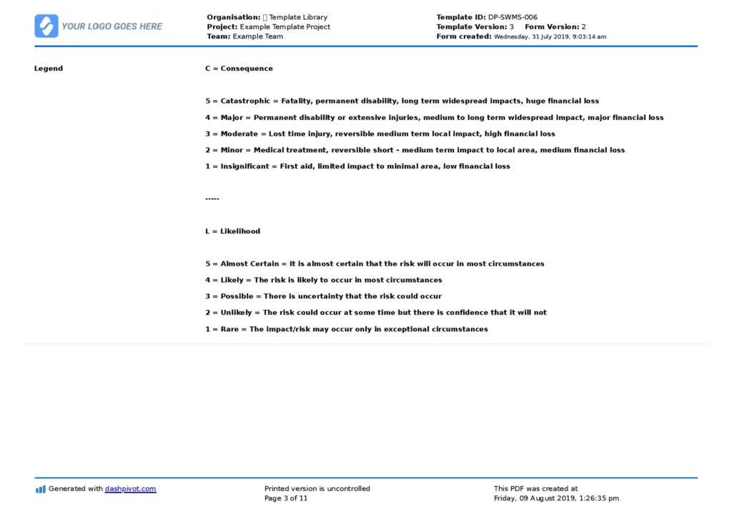 Safe work method statement template
