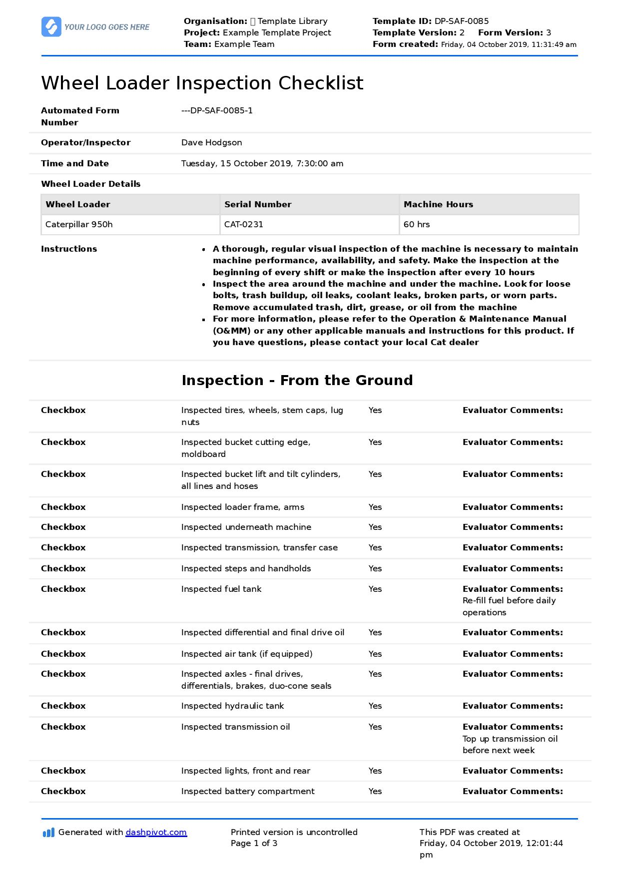 Wheel Loader Inspection Checklist Free Editable Form Template